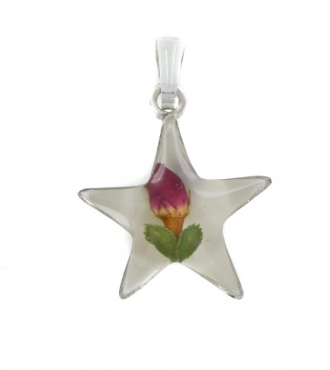 Children's Sterling Silver Real Red Rose Flower Star Pendant On A Curb Necklace