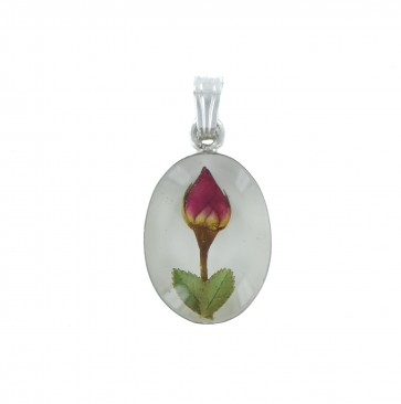 Sterling Silver Real Red Rose Flower Oval Pendant On A Snake Necklace