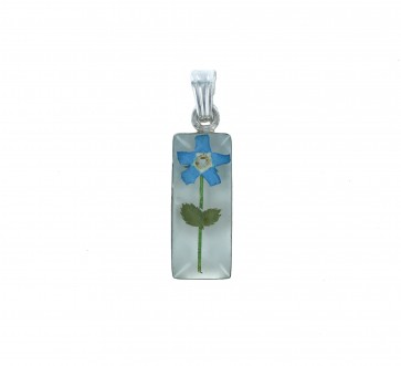 Sterling Silver Real Blue Forget Me Not Flower Small Cylinder Pendant On A Snake Necklace