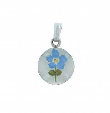 Men's Sterling Silver Real Blue Forget Me Not Flower Small Round Pendant On A Black Leather Cord Necklace