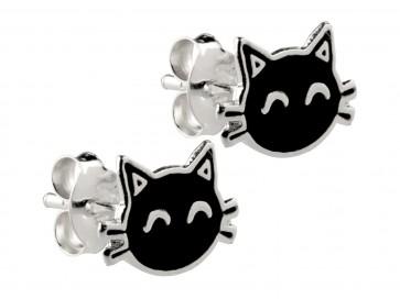 Sterling Silver Black Cat Enamel Stud Earrings