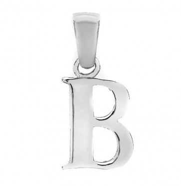 Children's Solid Sterling Silver Letter B Initial Pendant On A Curb Necklace