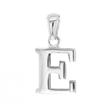 Men's Solid Sterling Silver Letter E Initial Pendant On A Black Leather Cord Necklace