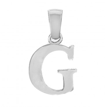Children's Solid Sterling Silver Letter G Initial Pendant On A Curb Necklace