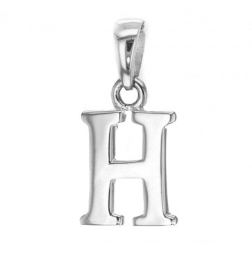 Men's Solid Sterling Silver Letter H Initial Pendant On A Black Leather Cord Necklace