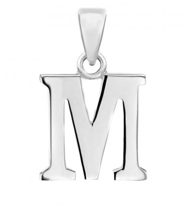 Men's Solid Sterling Silver Letter M Initial Pendant On A Black Leather Cord Necklace
