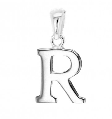Men's Solid Sterling Silver Letter R Initial Pendant On A Black Leather Cord Necklace