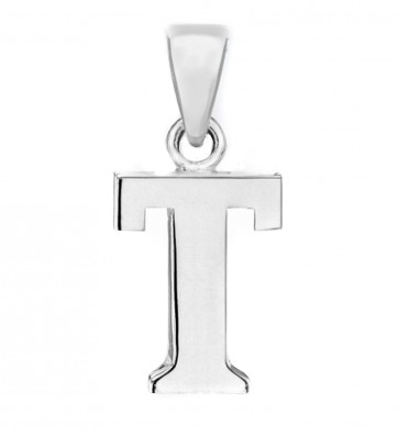 Solid Sterling Silver Letter T Initial Pendant On A Snake Necklace