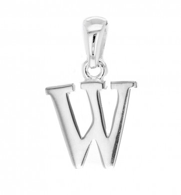 Solid Sterling Silver Letter W Initial Pendant