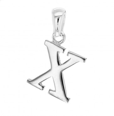 Solid Sterling Silver Letter X Initial Pendant