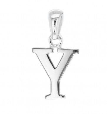 Men's Solid Sterling Silver Letter Y Initial Pendant On A Black Leather Cord Necklace