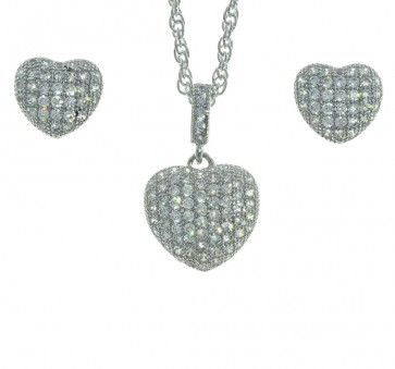 Sterling Silver Cubic Zirconia Heart Shape 18 Inch Necklace and Earring Set in a Red Heart Gift Box