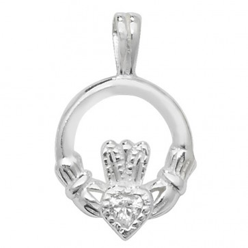 Sterling Silver Cubic Zirconia Claddagh Pendant On A Snake Necklace