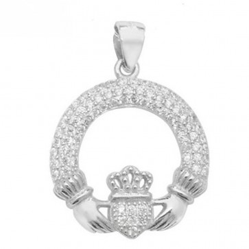Sterling Silver Claddagh with Cubic Zirconia Pendant On A Snake Necklace