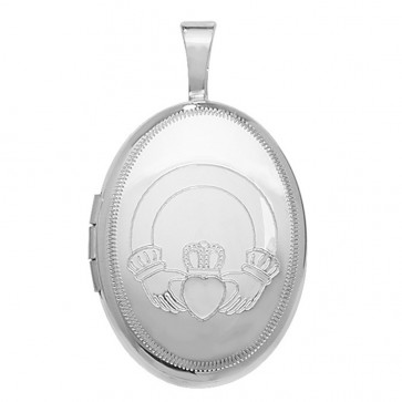 Children's Sterling Silver Oval Claddagh Locket On A Curb Necklace