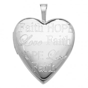 Children's Sterling Silver Heart Hope Faith And Love Engraved Locket On A Curb Necklace