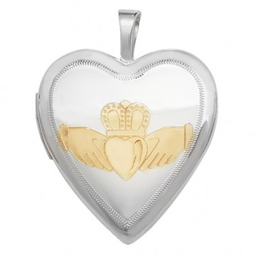 Men's Sterling Silver Gold Plated Design Heart Claddagh Locket On A Black Leather Cord Necklace