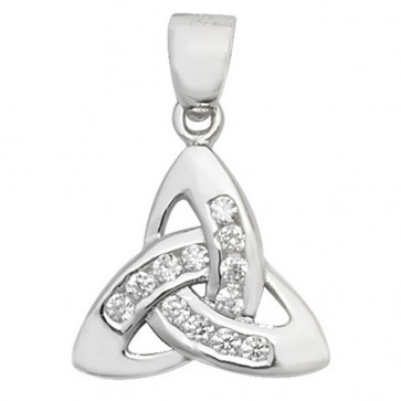 Men's Sterling Silver Cubic Zirconia Trinity Knot Pendant On A Black Leather Cord Necklace