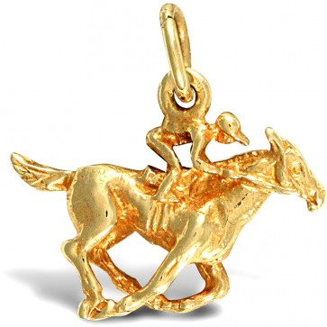 9ct Gold Jockey Pendant On A Belcher Necklace