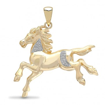 Children's 9ct 5pt Diamond  Horse Pendant On A Prince of Wales Necklace