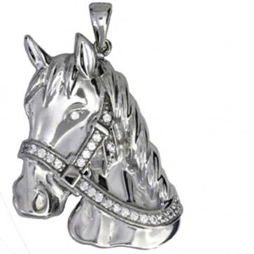 Men's Sterling Silver Cubic Zirconia Horse Head Pendant On A Black Leather Cord Necklace