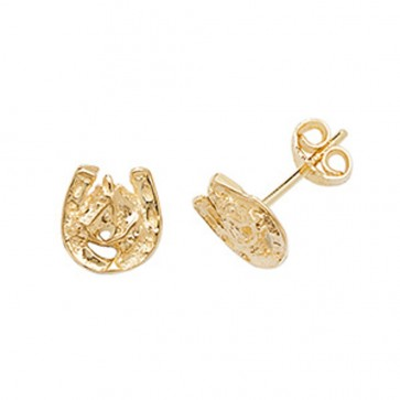 9ct Gold Horse Shoe Stud Earrings
