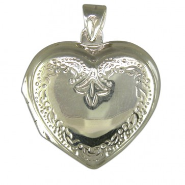 Men's Sterling Silver Engraved Heart Locket On A Black Leather Cord Necklace
