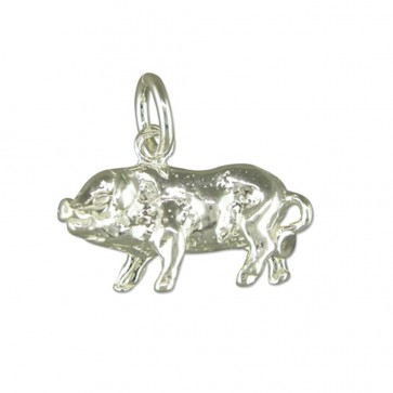 Men's Sterling Silver Pig Pendant On A Black Leather Cord Necklace