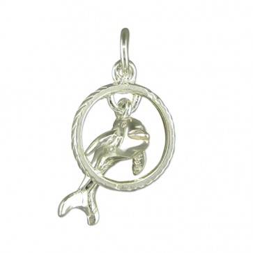 Children's Sterling Silver Dolphin Pendant On A Curb Necklace