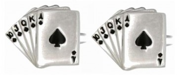 Novelty Fan Of Spade Cards Cufflinks