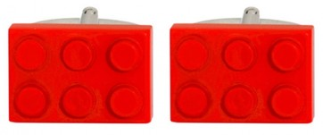 Novelty Red Toy Building Brick Cufflinks