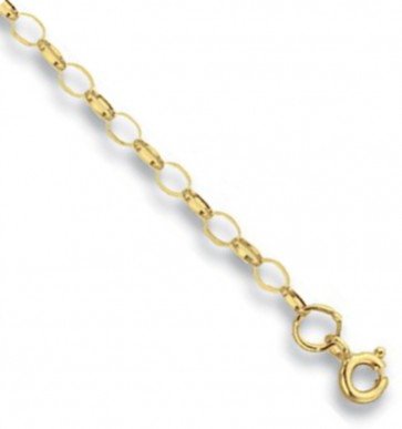9ct Yellow Gold Oval Belcher Chain Necklace - 3mm Thick - Various Lengths - 16, 18, 20, 22 and 24 Inch Long
