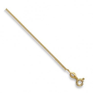 9ct Yellow Gold Curb Chain Necklace - 1mm Thick - Various Lengths - 16, 18 and 20 Inch Long