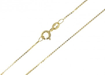 9ct Yellow Gold Box Chain Necklace - 1mm Thick - Various Lengths - 16, 18 and 20 Inch Long