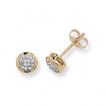 9ct Yellow Gold 0.12ct Diamond Round Stud Earrings