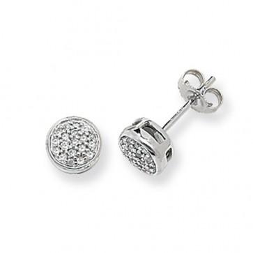 9ct White Gold 0.16ct Diamond Round Stud Earrings