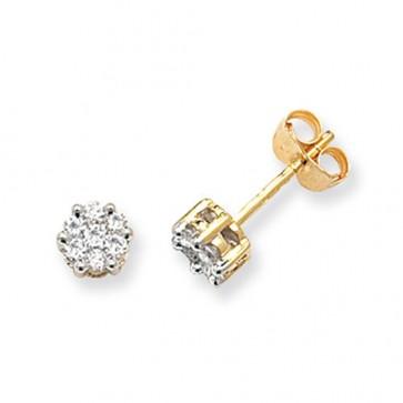9ct Yellow Gold 0.33ct Diamond Round Illusion Set Stud Earrings