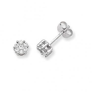 9ct White Gold 0.33ct Diamond Round Illusion Set Stud Earrings