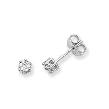 9ct White Gold 0.12ct Diamond Round Illusion Set Stud Earrings