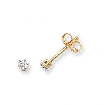 9ct Yellow Gold 0.05ct Diamond Round Illusion Set Stud Earrings