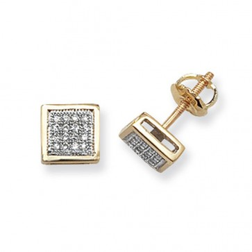 9ct Yellow Gold 0.13ct Diamond Square Stud Earrings