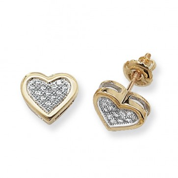 9ct Yellow Gold 0.12ct Diamond Heart Stud Earrings