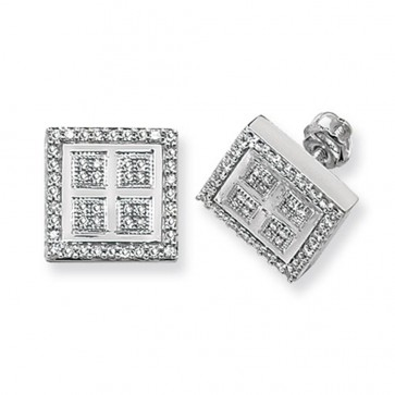9ct White Gold 0.45ct Diamond Square Stud Earrings