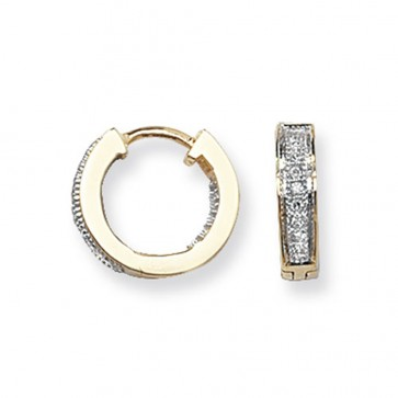 9ct Yellow Gold 0.09ct Diamond Huggie Earrings