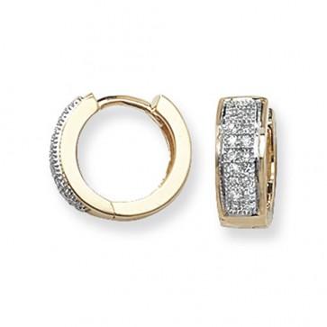 9ct Yellow Gold 0.15ct Diamond Huggie Earrings