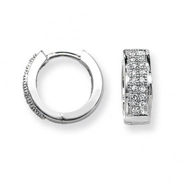 9ct White Gold 0.15ct Diamond Huggie Earrings