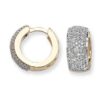 9ct Yellow Gold 0.75ct Diamond Huggie Earrings