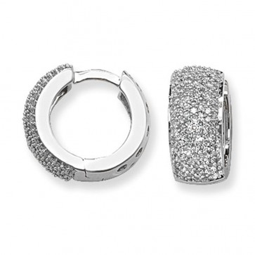 9ct White Gold 0.75ct Diamond Huggie Earrings