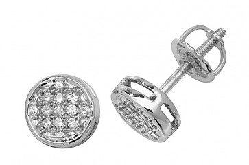 9ct White Gold 0.09ct Diamond Round Stud Earrings