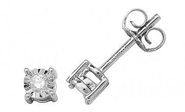 9ct White Gold 0.10ct Diamond Illusion Set Stud Earrings